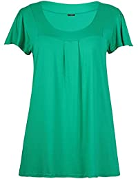 Womens Plus Size Square Neck Ladies Short Sleeve Pleated Shaped Long T-Shirt Top