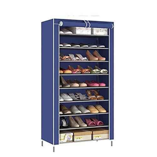 Rack de chaussure 10 couche 9 grille simple multi-fonctionnel rangement chaussure armoire non-tissé anti-poussière de stockage de chaussures rack,Blue