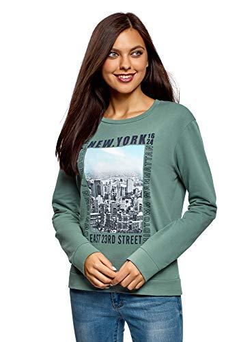 Oodji Ultra Mujer Suéter Algodón Estampado, Verde