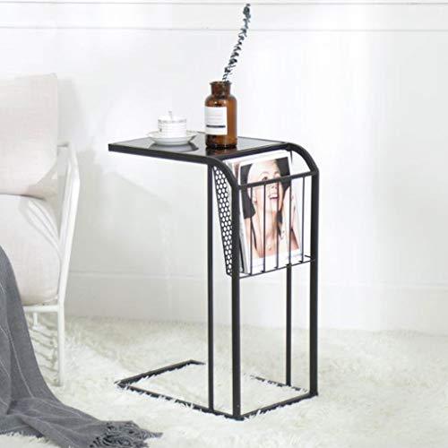 Table d'appoint, Table de Chevet Minimaliste Moderne de Chambre à Coucher Mini Table de Chevet côté canapé européen (Couleur : Noir)