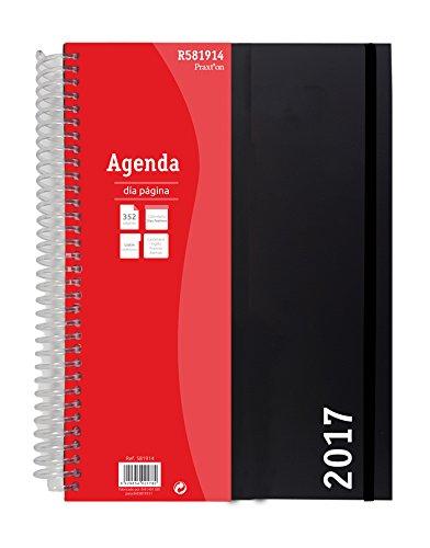 Agenda Espiral Praxton 1 Día Página 2017, 15x21.5cm Negro