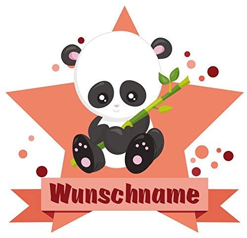 Samunshi® Baby Panda Bär Aufkleber mit Namen Autoaufkleber Namensaufkleber Kinder in 7 Größen (10x8,8cm Mehrfarbig)