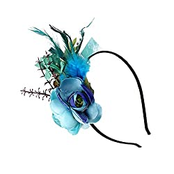 Segolike Vintage Feather Headband Fascinator Wedding Party Ascot Hairband Band Race Hair Accessory - blue