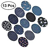 SUPVOX Iron on Patches for Jeans,13 Pcs Iron on Denim Cotton Patches Jean Repair Kit for DIY Clothes Bags (Random Color)