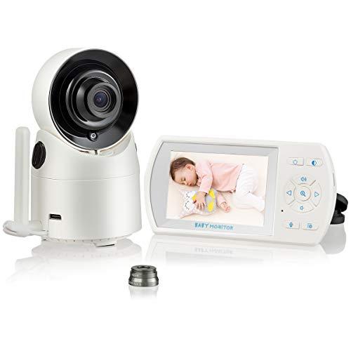 COSTWAY Babymonitor mit 360° Nachtsichtkamera, Babyphone mit 3,5'' LCD-Bildschirm, Überwachungskamera Temperatursensor, Zweiwege-Audio