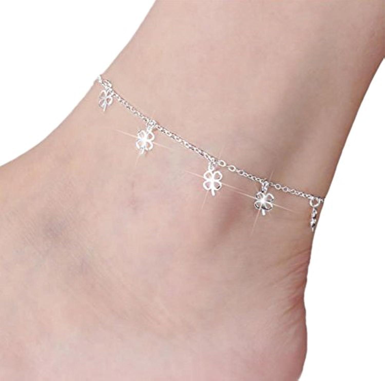 chakil bracelet bracelet bracelet chaîne chaîne sandales de plage, pieds nus, plage des pieds la cheville trèfle à quatre feuilles réglable bracelet (argent) b07h28g5n9 parent   économie  6e8dd9