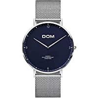DOM Men's Ultra-Thin Quartz Simulated Date Watch Blue Mesh Belt Men's Sports Quartz Watch Large dial Simple Fashion Dress Watch