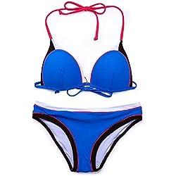 DMMW Maillot de bain fractionné pour femmes avec couture élastique et pratique d'impression maillot de bain sexy Bikini triangle à licou fixe Ensembles de bain réglables 2 pièces Combinaisons de natat