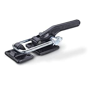 JW Winco Series GN 852 Steel Latch-Type Toggle Clamp with Mounting Holes, Pulling Latch and Latch Bracket, Type T2, Metric Size, Clamp Size 1400, 14000 Newton Holding Capacity