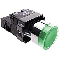 Cablematic - Pulsante momentaneo interruttore 22mm 1NO 400V 10A normalmente aperto con luce LED verde