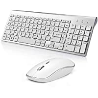 JOYACCESS Tastatur Maus Kabellose,QWERTZ 2.4G Wireless Tastatur mit Nummerischer Tastatur 2400 DPI Optische Kabellose Maus by Silber und Weiß