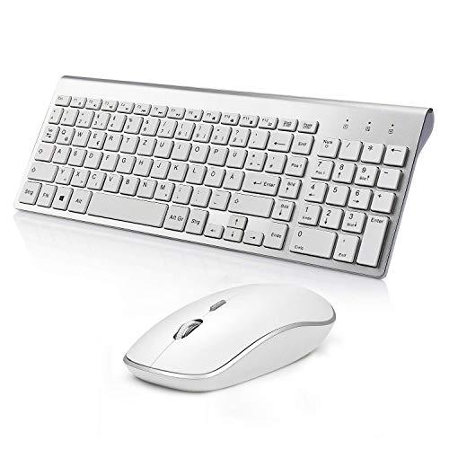 J JOYACCESS Tastatur und Maus,2.4G Ultra Dünne Wireless Maus und Tastatur Kabellos Ergonomischer Leise 2400DPI Optische Kabellose Maus für PC/Laptop/Smart TV(QWERTZ, Deutsches Layout)-Silber und Weiß