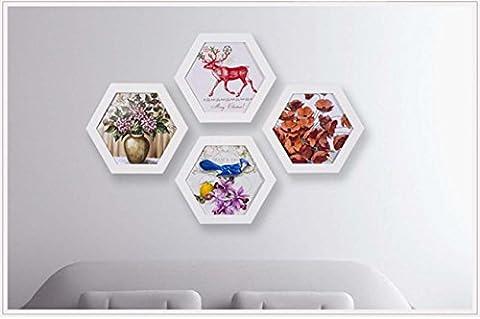 Cadre photo hexagonale en bois Cadeau idéal personnalisé personnalisé à la main simple , 16