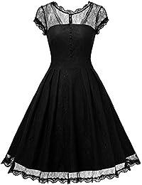Miusol Damen Elegant Spitzenkleid Vintage 50er Jahr Kleid Party Cocktailkleid Abendkleid Schwarz/Weinrot/Blau Gr.S-3XL
