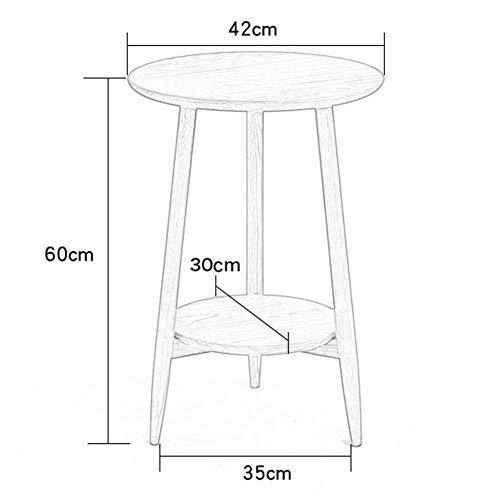 HYLH Beistelltische, Tische Eiche Beistelltisch Massivholz Schlafzimmermöbel Small End Holzkaffee Flur Flur Lampe Pflanze Telefon Stand (Farbe: Blockfarbe + Eiche, Größe: 42 * 60cm)