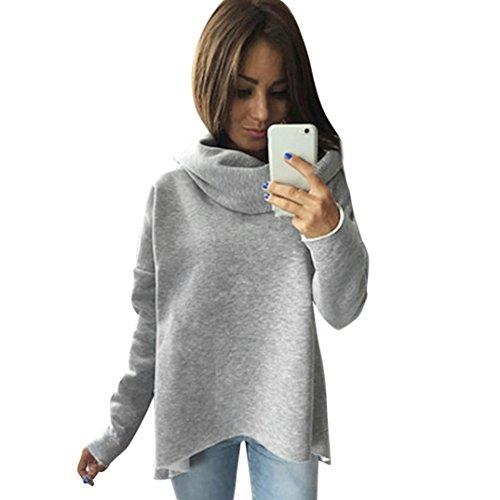 Sannysis Damen Lose Asymmetrisch Jumper Sweatshirt Pullover Bluse Oberteile Oversize Tops (M, Grau)
