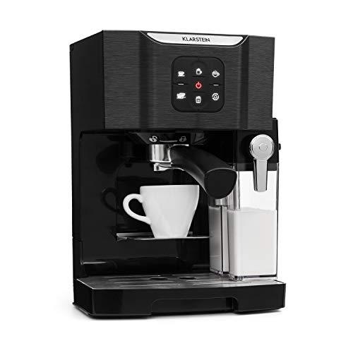 Klarstein BellaVita • Macchina da Caffè • Funzione 3 in 1 per Espresso, Cappuccino e Latte Macchiato • Montalatte da 0,4 L • 20 Bar • Serbatoio da 1,4 L • Nero