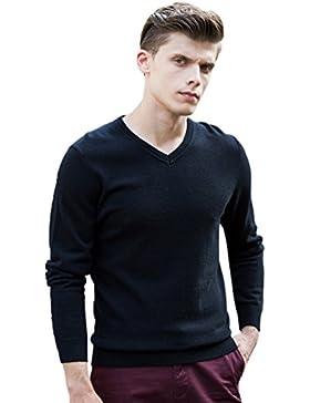 Jitong Uomo Maglione a Maniche Lunghe Maglia a Scollo a V Slim Fit Tinta Unita Sweater Pullover