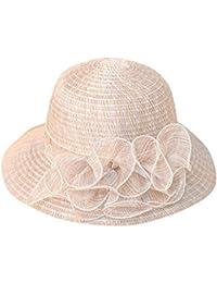 Pamela - para Mujer Mujer Sol Verano Algodón Sombrero De ala Ancha Tapa  Abatible UPF 50 + Barbilla Manera Gorro… ce935d3880d