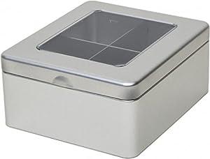 Argent uni à thé/cuisine Boîte de rangement/boîte–Boîte Cloisonne–4Compartiment