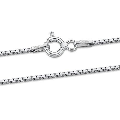 Amberta® Joyería - Collar - Fina Plata De Ley 925 - Cadena de Eslabón Cuadrado - 1.0 mm - 40 45 50 55 60 cm