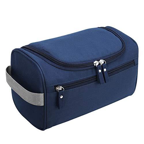Beauty case da viaggio uomo donna borsa da toilette da appendere borsa da viaggio con gancio impermeabile da bagno portatile organizer da viaggio pochette make up trucchi cosmetici blu
