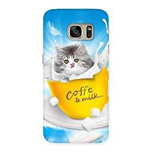 Delighted Kitty Coffee Multicolor Back Case Cover for Galaxy S7