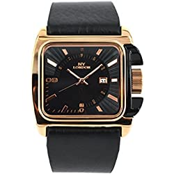 NY LONDON GENTS ROSE GOLD DIAL BLACK STRAP DATE WATCH
