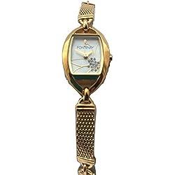 Fontenay Frauen analoge Quarz 18 Karat Gold überzog Blumen-Stein-Perlmutt-Uhr