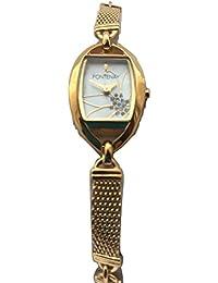 L''Femmes Fontenay Quartz analogique plaqué or 18 carats Pierre Fleur Mère de Pearl Watch