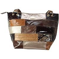 b38e69c0cd1bf ausgefallene große Lederhandtasche braun gold Shopper Henkeltasche Patchwork