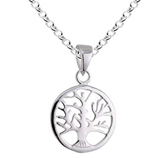 Vinani Anhänger Lebensbaum Baum des Lebens Mandala klein mit Erbskette 40 cm Sterling Silber 925 Kette Italien ABL-T40