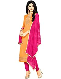 Regalia Ethnic Women's Cotton Dress Material (MFRE142_Free Size_Orange)