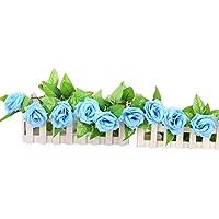 zycshang romántico luz azul Artificial falsa flores de rosa de seda Ivy Vine Hanging Garland boda Decoración
