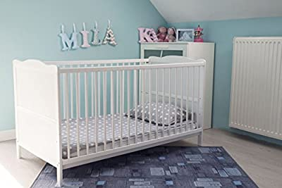 White Wood Baby Cot Bed & Deluxe Foam Mattress Converts into a Junior Bed, 3 Base Level