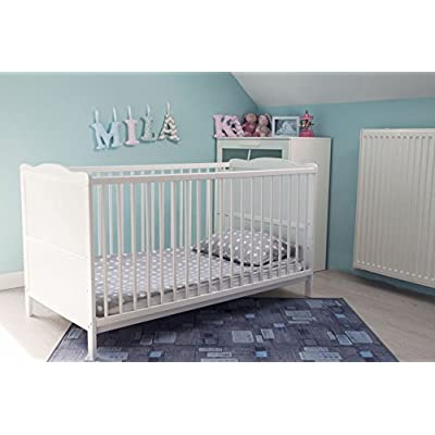 White Wood Baby Cot Bed & Deluxe Foam Mattress Converts into a Junior Bed, 3 Base Level  ERRU