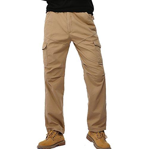 AYG Winter Velour Hose Warm Herren Cargo Pants(khaki,32)