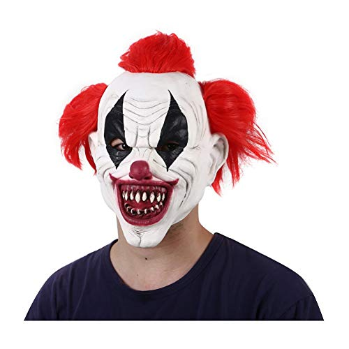 FLTVSN Halloween-Maske Rotes Haar Furchterregende Latex Clown Kostüm Party Maske Lustige Joker Clown Masken Halloween Horror Wizard Clown Masken Geistermaske (Furchterregende Clown Kostüm)