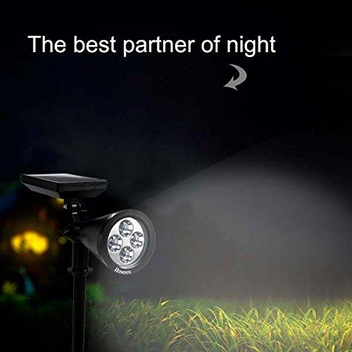 SAILNOVO Solar Gartenleuchten, 4 LED IP65 Wasserdicht Solarleuchten Garten Strahler Outdoor Landschaft Beleuchtung In-Boden-Licht für Garten Hinterhof Rasen usw
