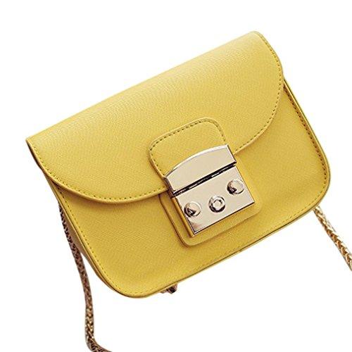 BZLine® Frauen Messenger Small Clutch Kette Crossbody Taschen Tote Gelb