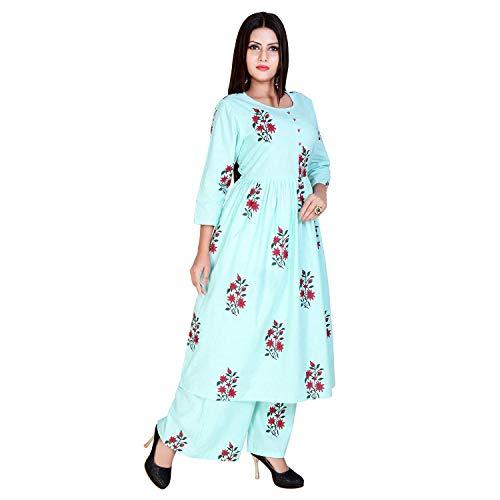 Marlin Women's Cotton Palazzo Salwar Suit (pls-01, Sea Green, Medium)