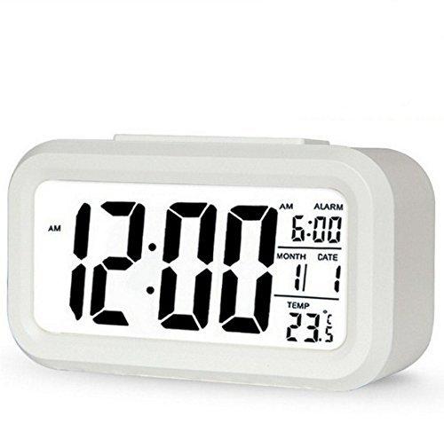 Energystation Digitale Smart Wecker Tischuhr, Batteriebetriebener Digitaluhrmit, LCD Anzeige mit großen Ziffern,Snooze Funkion,Datumsanzeige, Temperatur und Lichtsensor(Weiß) Niedrig-temperatur Lcd
