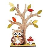 Dekofigur Herbstdeko Baum mit Eule aus Holz 18 cm hoch Eule