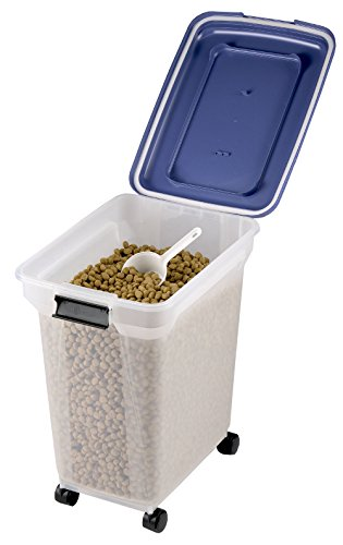 45 Litre Airtight Clear Plastic Storage Food Dry Pet Catering Bin Container incl Wheels - Hinged Lid Catering Scoop Provided 15 Kilogram Load Capacity