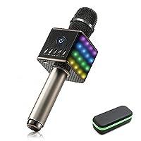 LED Wireless Karaoke Microphone - NASUM H8 Mic Built in Bluetooth Speaker and Mini Handheld Cellphone Karaoke Player,2600mAh battery,Karaoke MIC Machine for KTV with Carry Case(100% Protection)