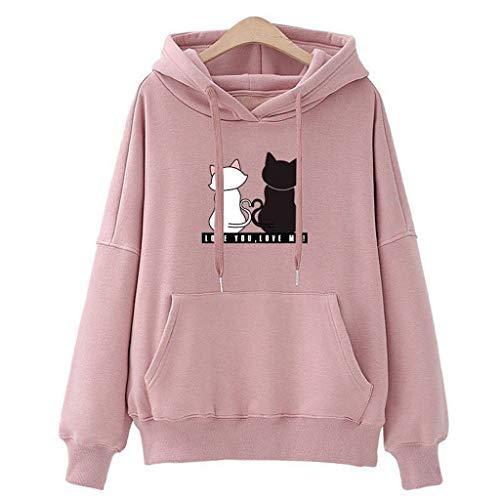 OverDose Damen Holiday Outing Style Frauen Hoodies Lässige Sweatshirt Winter Damen Mädchen Baggy Cat Sport Schlank Pullover Pullover Tops Jacke(Rosa,EU-34/CN-M)