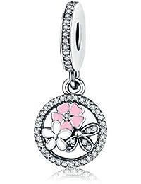 Cute con rosa esmalte plata de ley 925flor colgante charms Clara circonio cúbico Circle para pulsera Europea regalos de Navidad Joyas