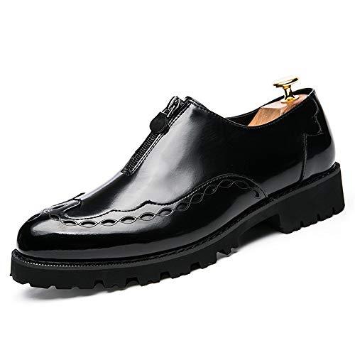 YIJIAN-SHOES Herren Oxford Schuhe Herren Oxford Schuhe Kleid Spiegel PU Leder Lace Zip Design Wohnungen Kleid Oxford Schuhe (Color : Schwarz, Größe : 38 EU) Lace Oxford Cap