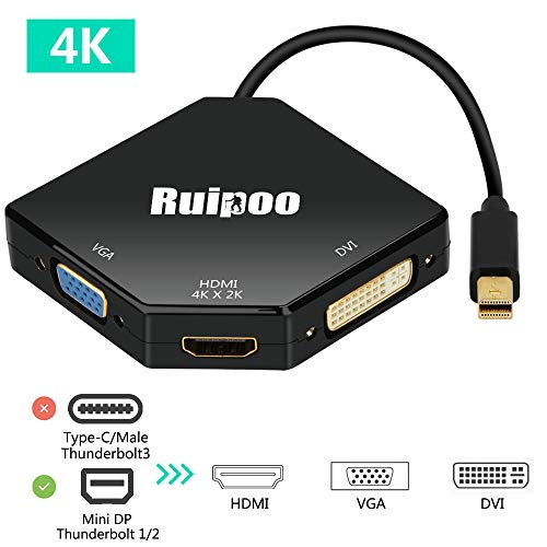 Thunderbolt Port Mini Displayport auf HDMI DVI VGA Adapter Konverter 4K*2K Multiport 3in1 Mini Displayport DP Adapter für Laptop Computer Top-Box TV (Schwarz) (Laptop-tv-anschluss)