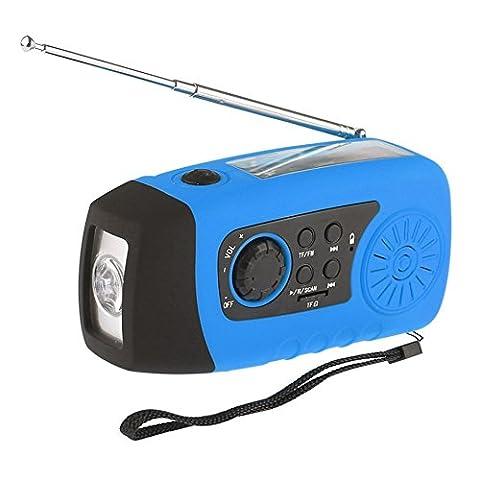 iMinker portable solaire d'urgence Manivelle Self Powered Radio FM avec [2000mAh] USB Power Bank, lampe (Autoalimentato Torcia)